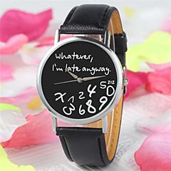 nye mode kvinder læder armbåndsure brev geneva ur uanset hvad jeg er allerede sent uregelmæssig figur quartz ur