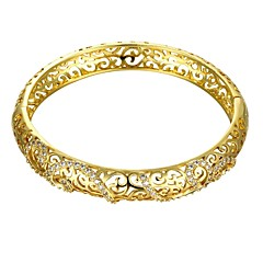 Vintage Hollow Diamante Curve Style 5.6*5cm Women's Multicolor Gold-Plated Brass Bangles(Golden&Rose Gold)(1 Pc)