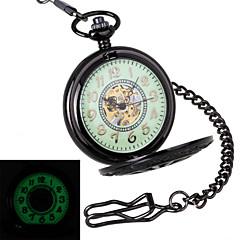 Hombre Reloj de Bolsillo El reloj mecánico Huecograbado Cuerda Manual Aleación Banda De Lujo