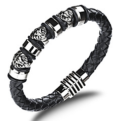 Cool First Layer Leather Woven Stainless Steel Faucet Buckle Men's Bracelet