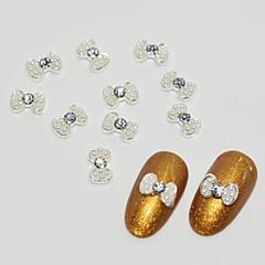 10pcs Alloy Inlaid Pearl Bow Tie Nail Art Decoration