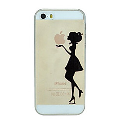 The Girl Holding The Apple Pattern PC Hard Transparent Back Cover Case for iPhone 5/5S
