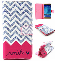 Wave Smile Pattern PU Leather TPU Full Body Case With Card Holder for Samsung Galaxy A8