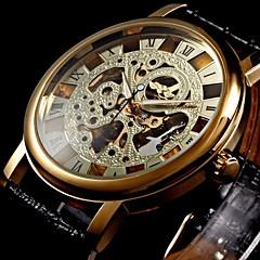 WINNER Αντρικά μηχανικό ρολόι Ρολόι Καρπού Μηχανικό κούρδισμα Εσωτερικού Μηχανισμού PU Μπάντα Πολυτελές Μαύρο Χρυσαφί