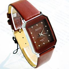 Men's Business Simple Square Diamond Dial PC Movement Leather Strap Fashion Quartz Watch (Assorted Colors) Wrist Watch Cool Watch Unique Watch