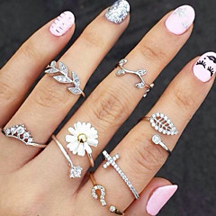 Ring Flower / Leaf Fashion Party Jewelry Alloy / Rhinestone Women Midi Rings 1set / 3pcs,One Size Gold