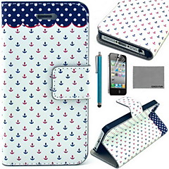 COCO FUN® Dots Anchor Pattern PU Leather Case with Screen Protector and USB Cable and Stylus for iPhone 4/4S