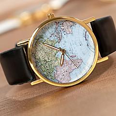 Hombre Mujer Unisex Reloj de Pulsera Cuarzo PU Banda Mapa del Mundo Blanco Negro Marrón Leopardo