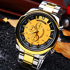 Men's New Classic Personality Round Dial Steel Strap Fashion Business Quartz Watch (Assorted Colors) Wrist Watch Cool Watch Unique Watch