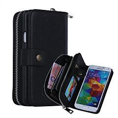 DE JI PU Leather Zipper Handbag Wallet Purse with Card Slot Phone Case Cover for Samsung S5/S4