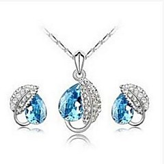European Style Leaf Crystal Alloy Necklace And Earrings Jewelry Set(Blue,Red,Purple)(1Set)