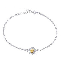 Woman Daisy Flowers  Plain Silver Bracelet(not include necklace with ring)