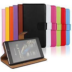 ensfarvet stilfuld ægte læder flip cover pung kort slot tilfældet med stativ til Huawei p7mini Huawei p7 p8 mac