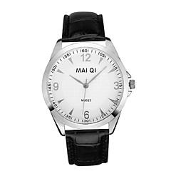 Men's Casual Leather Band Quartz Wristwatch