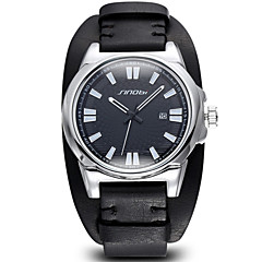 SINOBI®Auto Date Silver Case Coffee PU Leather Strap Men's Casual Watches Brand Fashion Male Watch Time Hour