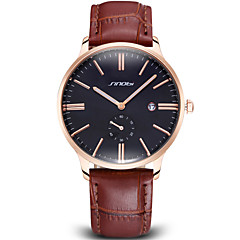 SINOBI®Auto Date Rose Gold Case Coffee PU Leather Strap Business Watches Men Luxury Brand Fashion Casual Watch Wrist Watch Cool Watch Unique Watch