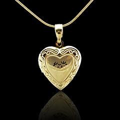 18K Real Gold Plated Allah Muslim Islamic Heart photo box Pendant 1.9*3CM