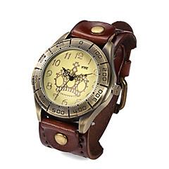 män klockor äkta läderband fritid titta vattentät vintage armbandsur kvarts klockor (blandade färger)
