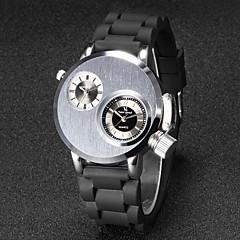 V6 Da uomo Orologio da polso Creativo unico orologio Quarzo Quarzo giapponese Due fusi orari Gomma Banda Nero Nero Argento Dorato
