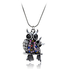 European Style Retro Coloured Drill  Two Intimacy Owl Pendant Alloy Necklace