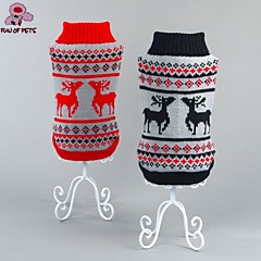 Cat / Dog Coat / Sweater Red / Black Dog Clothes Winter Cartoon Wedding / Cosplay / Christmas / Holiday / New Year's