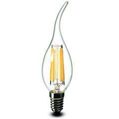6W E12 LED Kerzen-Glühbirnen CA35 6 COB 600 lm Warmes Weiß Dimmbar AC 110-130 V 1 Stück
