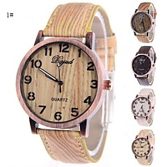 Men's Women's Fashion Shell Wood Grain Circular Silicon Tape Chinese Watch Movement(Assorted Colors)