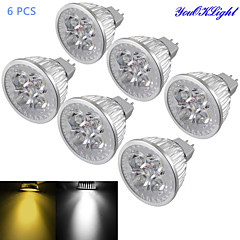 YouOKLight® 6PCS MR16 4W Dimmable 4-LED Spotlight Warm White/Cold White Light 3000/6000k 400lm (DC 12V)