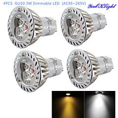 YouOKLight® 4PCS Dimmable GU10 3W 200LM 3000/6000K  White/ Warm White 3-LED Spot Light Bulb - Silver + White (AC85~265V)