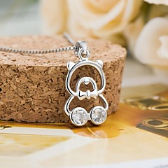 Cartoon Mosaic Pendants Han Edition Bear Clavicle Female Fashion Necklace Sterling Silver Jewelry Ahain