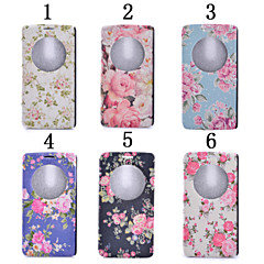 For LG Case with Stand / with Windows Case Full Body Case Flower Hard PU Leather LG