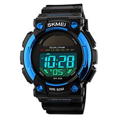 SKMEI Herren Sportuhr Armbanduhr digital LED Kalender Chronograph Wasserdicht Alarm Solarenergie Sportuhr PU Band Schwarz Schwarz Rot Blau