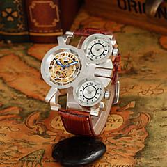 Masculino Relógio Esqueleto Automático - da corda automáticamente Três Fusos Horários / Relógio Esportivo Couro Banda Relógio de Pulso