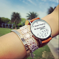 Vintage Letter It Does Not Matter I'M Always Late, Pu Women's Watches,Gift Idea Cool Watches Unique Watches Strap Watch