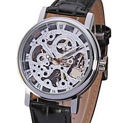 WINNER Herren Armbanduhr Mechanische Uhr Transparentes Ziffernblatt Mechanischer Handaufzug PU Band Schwarz