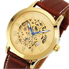 reloj auto de viento automática banda de cuero esfera de oro esqueleto clásico de los hombres