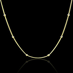 18K Real Gold Plated Figaro Beads Necklace 46CM