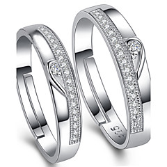 2015 Fashion LOVE Adjustable Sterling Silver Cubic Zirconia Couple Wedding Rings Promis rings for couples