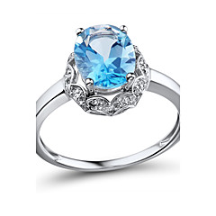 Ring,925 Sterling Silver Diamond / Topaz / Imitation Diamond Oval Wedding / Party / Daily / Casual / N/A JewelrySilver / Sterling Silver