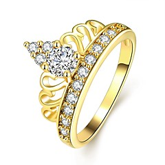 Classic Women's Crown Inlay White Zircon Gold-Plated Brass Statement Rings(Golden,Rose Gold,)(1Pcs)