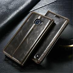 For Samsung Galaxy etui Pung Kortholder Med stativ Flip Etui Heldækkende Etui Helfarve Ægte læder for SamsungS6 edge plus S6 edge S6 S5