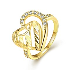 Original Personality Women's Love Inlay White Zircon Gold-Plated Brass Statement Rings(Golden,Rose Gold,)(1Pcs)