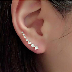 Rhinestone Alloy  Ear Cuffs Wedding Glamorous Women's Fashion Line Shiny Rhinestones Zircon Earrings  Jewelry Nice Gift  1pc