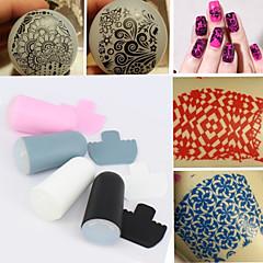 1 סט של סטמפר מסמר אמנות וסט מגרד, קישוטי יופי מסמר DIY כלים תבנית סטמפר 4 צבעים (צבע רדום)
