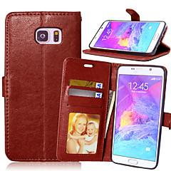 For Samsung Galaxy Note Pung Kortholder Med stativ Flip Etui Heldækkende Etui Helfarve Kunstlæder for Samsung Note 5 Note 4 Note 3