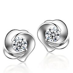 Κουμπωτά Σκουλαρίκια Ασήμι Στερλίνας Κρύσταλλο Μοντέρνα Ασημί Κοσμήματα Γάμου Πάρτι Καθημερινά 2pcs