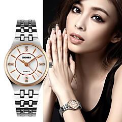 reloj de cuarzo de acero inoxidable delgado de lujo de las mujeres