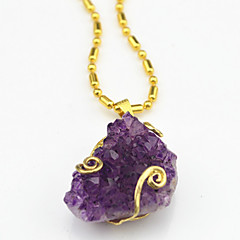 Vintage Look Gold Dye Purple Irregular Amethyst Stone Necklace Pendant(1PC)