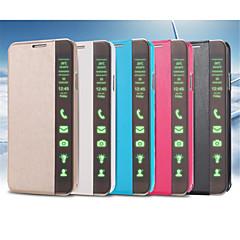 Varten Samsung Galaxy Note Tuella / AutomAutomaattinen auki/kiinni / Flip Etui Kokonaan peittävä Etui Yksivärinen Tekonahka SamsungNote 4