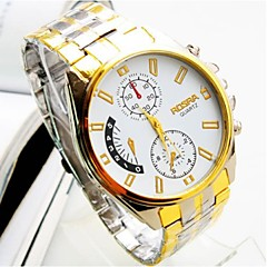 Brand Rosra Luxury Gold Big Round Dial Stainless Steel Quartz Watch Men Casual Business Wrist Watch Relogios Masculino